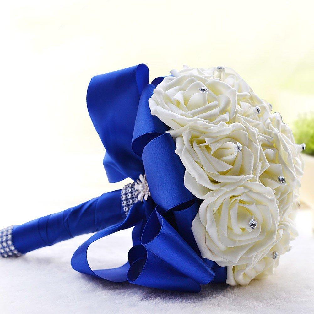 Цветов, букет невесты с синей лентой