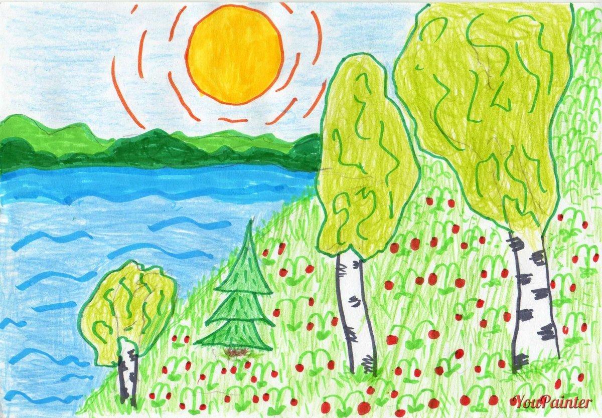 рисунки лето природа карандашом заходе порт всегда