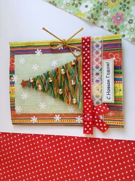 Сделать открытку, открытка новогодняя из ниток