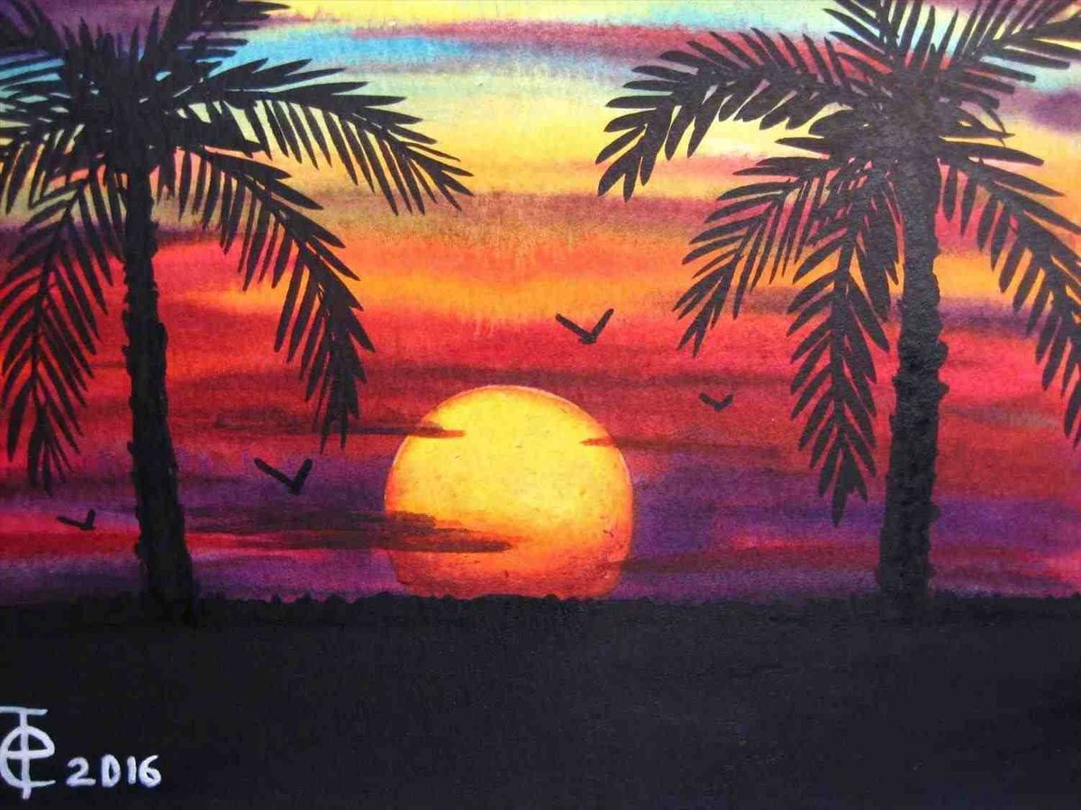 easy sunset paintings for beginners painting ideas card from