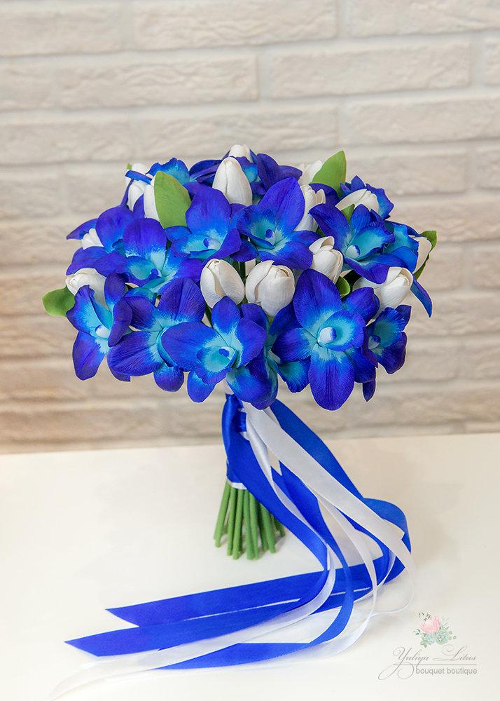 Букеты из синих орхидей спб, букеты срезанных