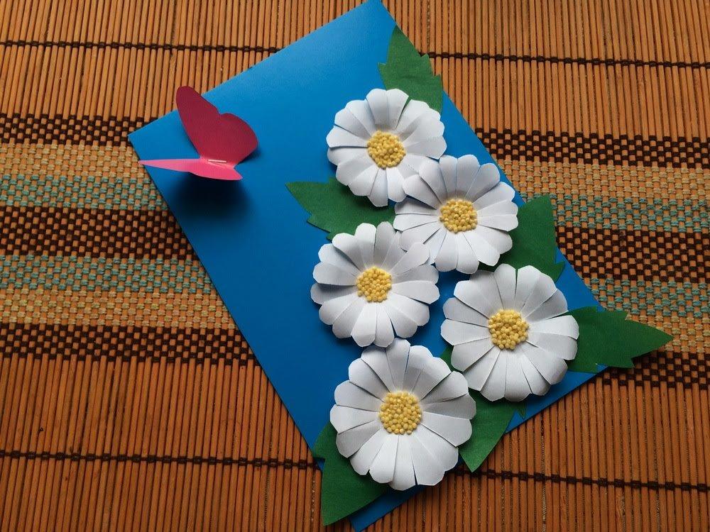 Марта, сделать открытку из цветной бумаги цветы