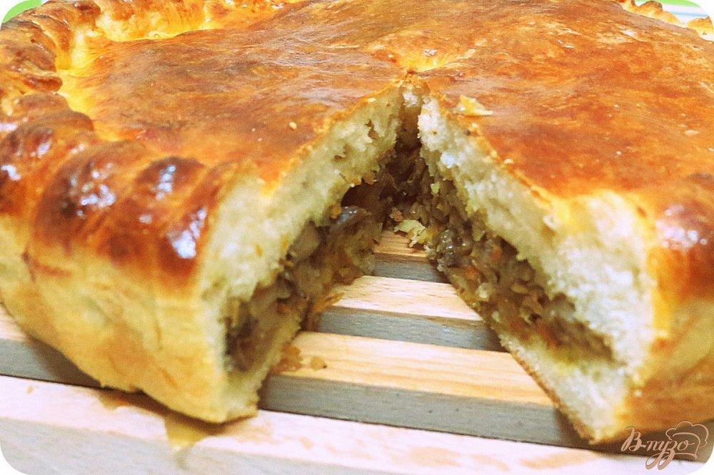 пирог с печенью и картошкой в духовке из дрожжевого теста