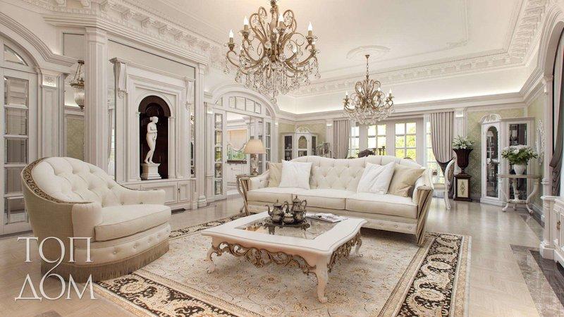 Дизайн интерьера гостиных > 760 фото в квартирах и загородных ... Освещение интерьер гостиной с помощью двух помпезных люстр