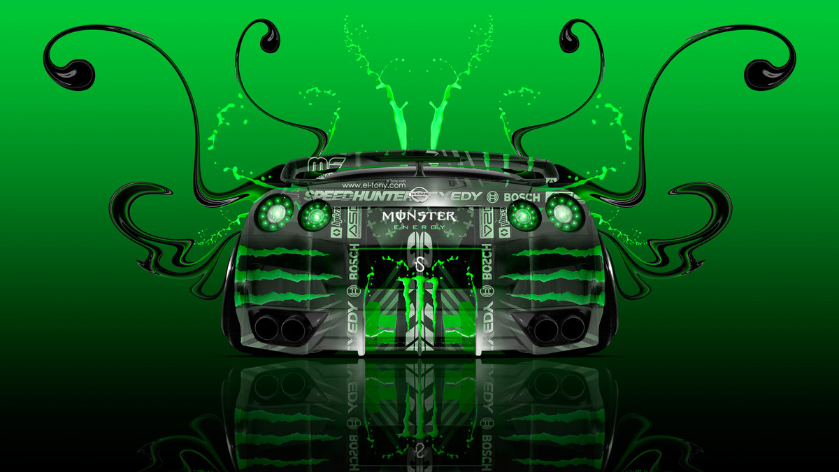 Monster Energy Nissan GTR R35 Back Super Plastic