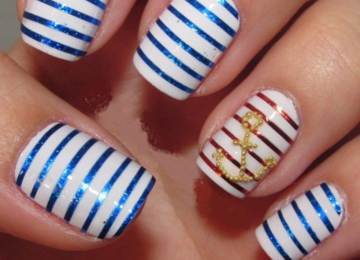 Морские ногти с якорем фото
