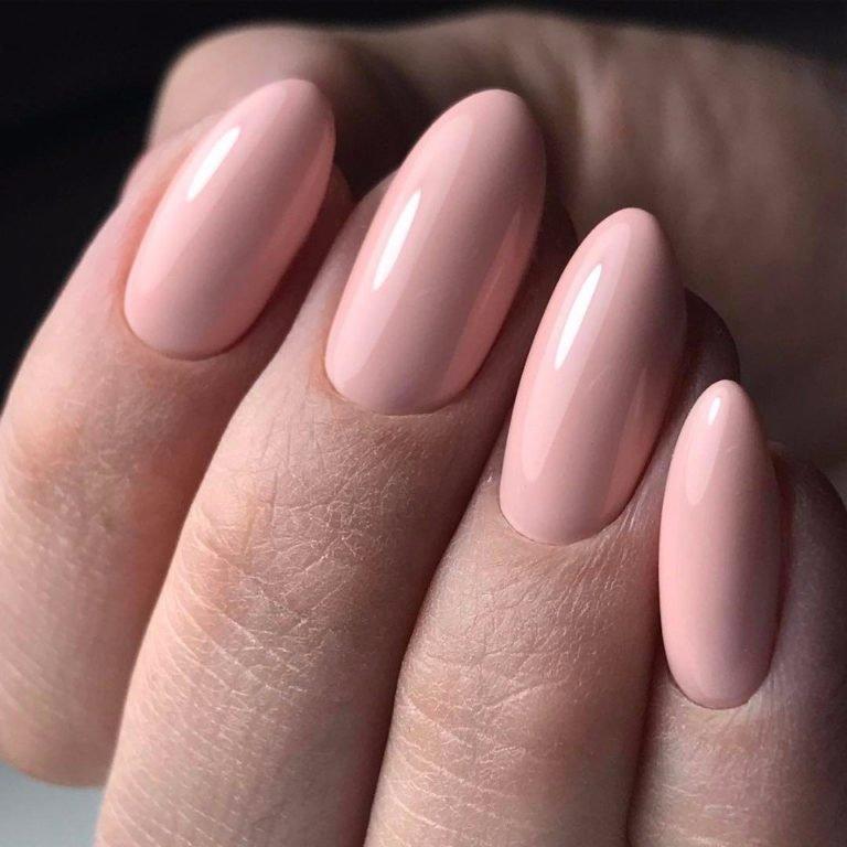 Розовый маникюр на нарощенные ногти фото