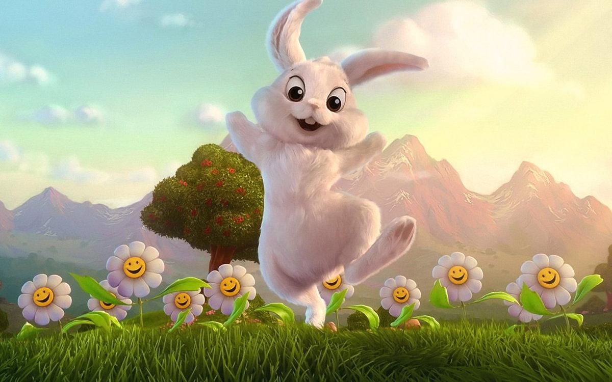 Картинка зайчика веселого