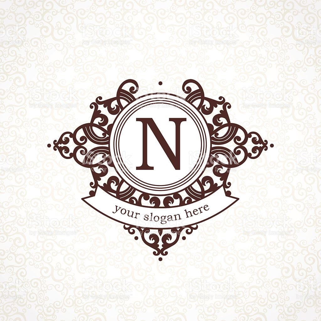 Vector logo template in Victorian style. Ornate element for design ...