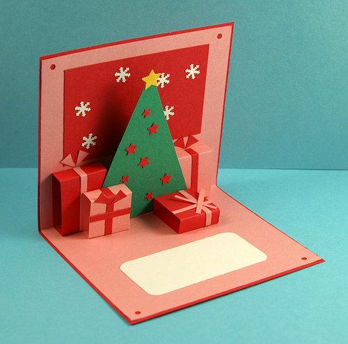 Для почты, новогодние. объемные открытки