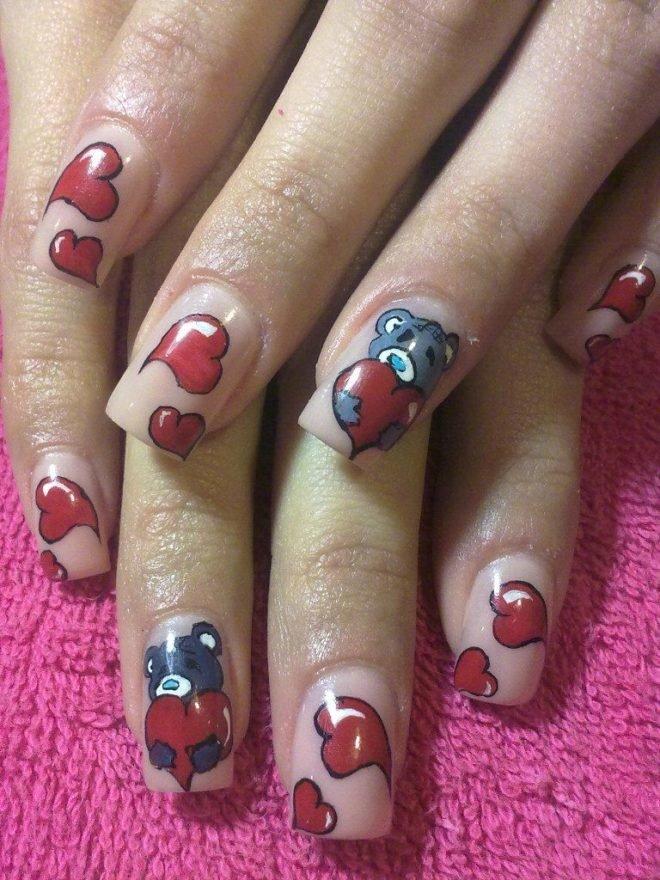 Нарощенные ногти. с прикольными рисунками
