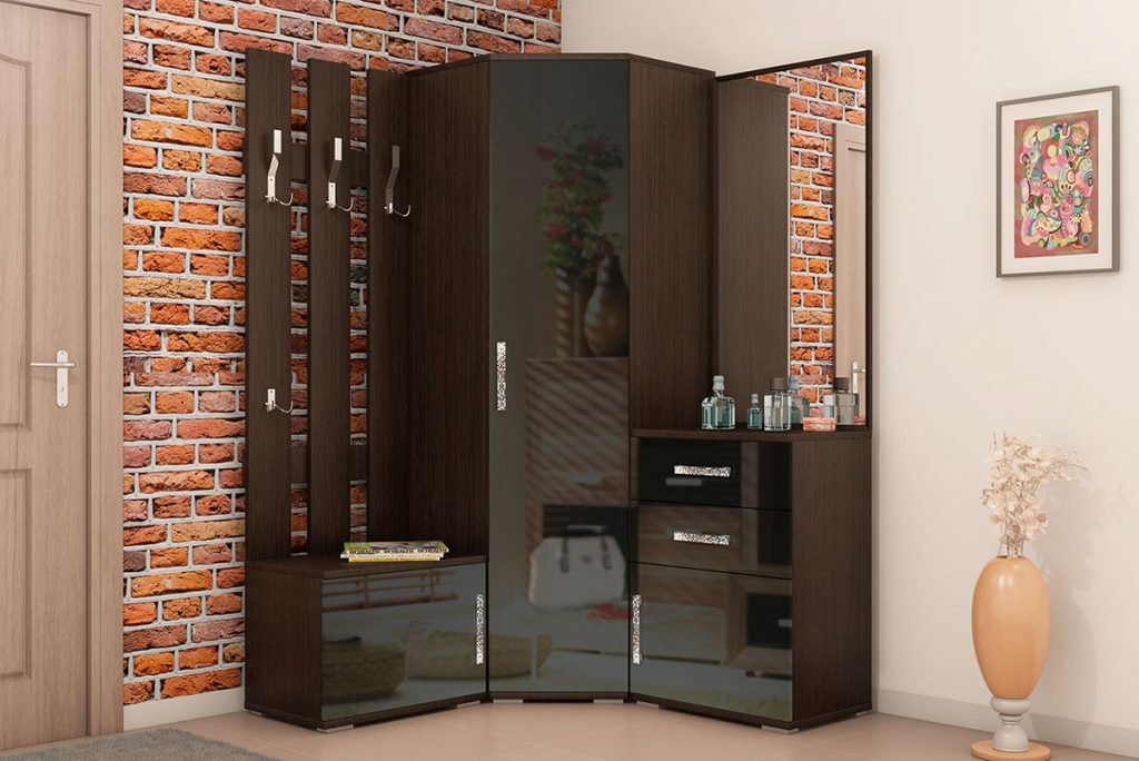 Угловой шкаф в прихожую с зеркалом с пуфиком - Яндекс.картин.