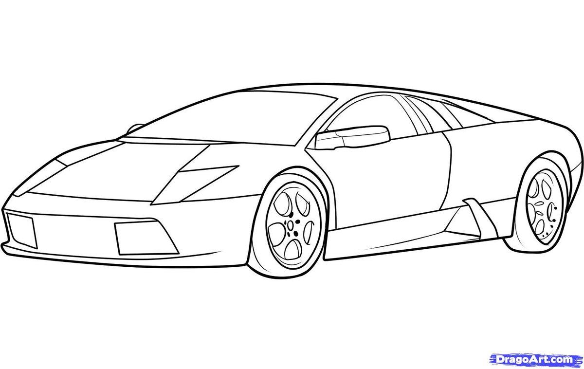 как нарисовать машину lamborghini карандашом