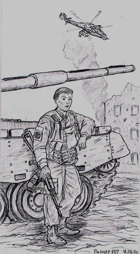 на тему война в карандашом рисунки