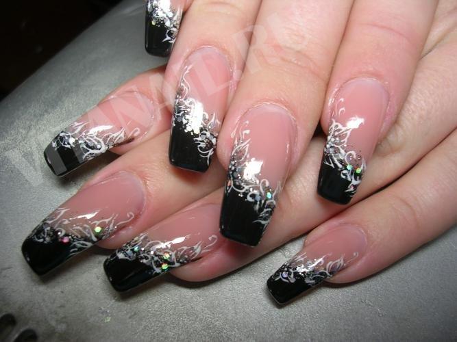 Фото ногтей белый френч с цветами