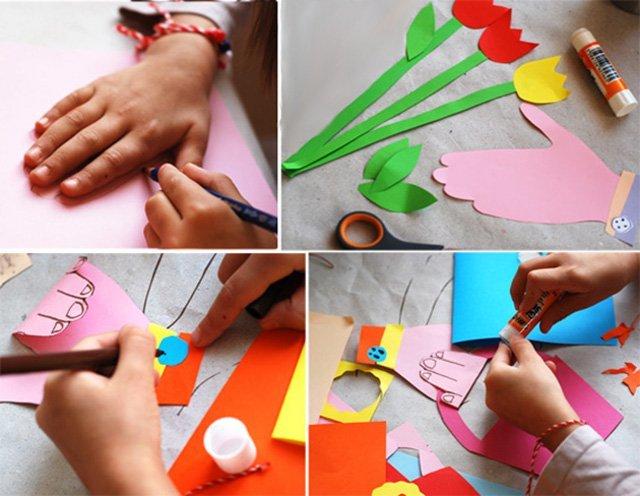 Как сделать открытку на 8 марта бабушкам своими руками