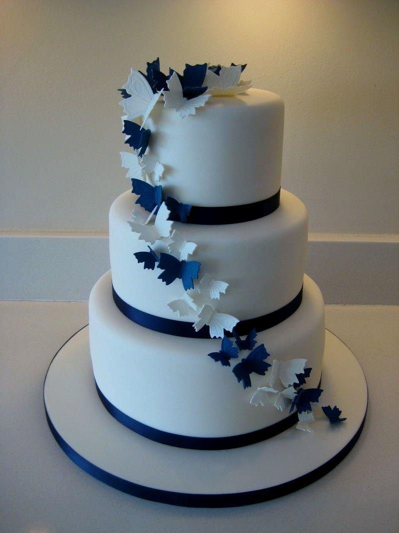 Торт бело синий свадебный
