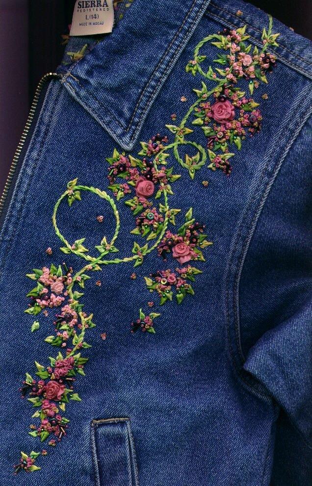 Вышивка гладью на джинсовых куртках