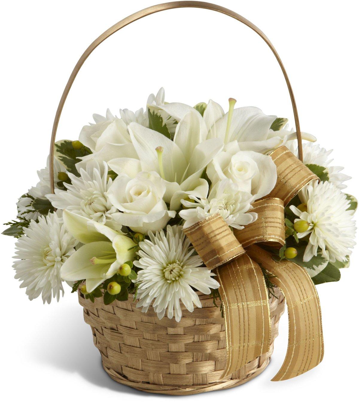 Поздравления днем, букет с лилиями в корзине