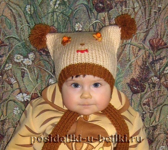 вязание спицами для новорожденных шапочки шапочка с помпонами