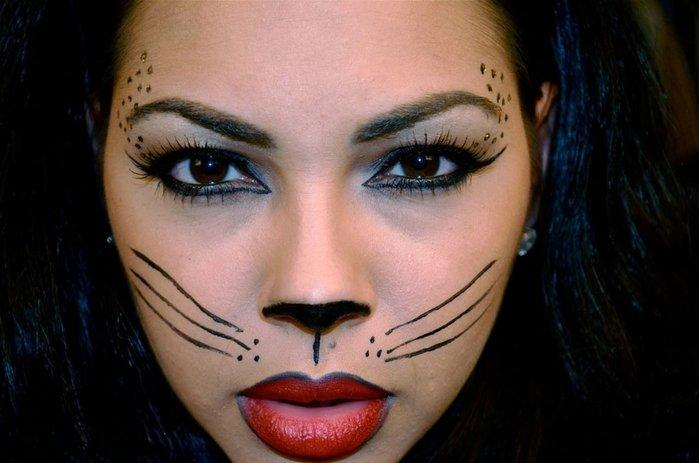 на кошка хэллоуин макияж картинки