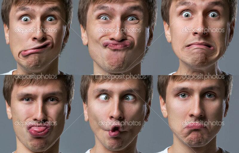 Большой головой парень делает сумасшедшие лица эмоции - С...