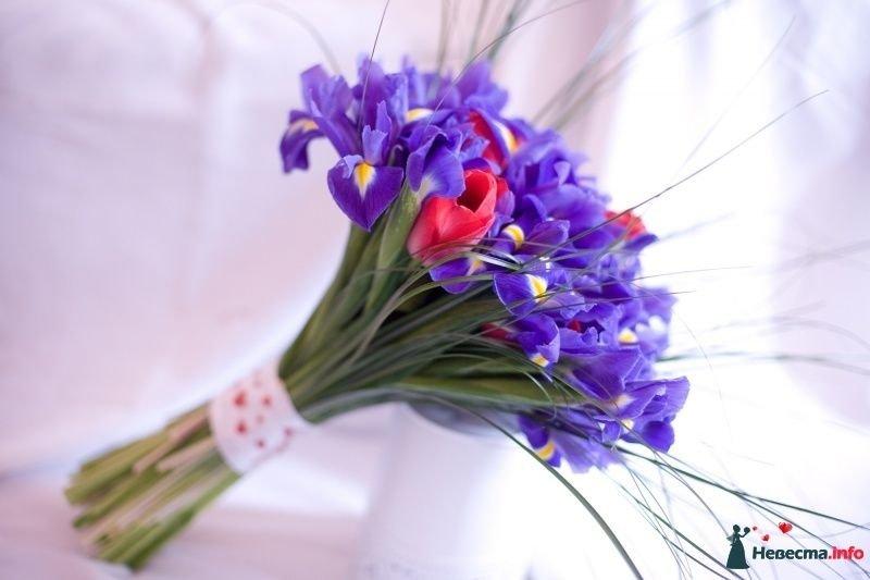 Цветы доставкой, свадебные букеты из 9 тюльпанов и ирисов