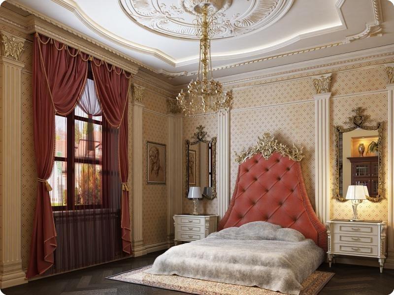 Дизайн интерьера и освещения в стиле ампир предполагает использование тяжеловесной и массивной мебели, декорированной бронзовыми рельефами или позолотой.