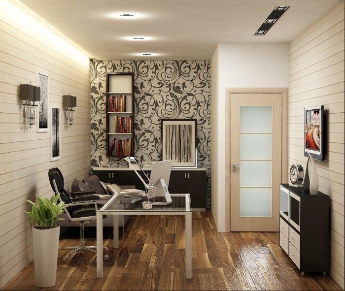 Домашний кабинет с прозрачным столом