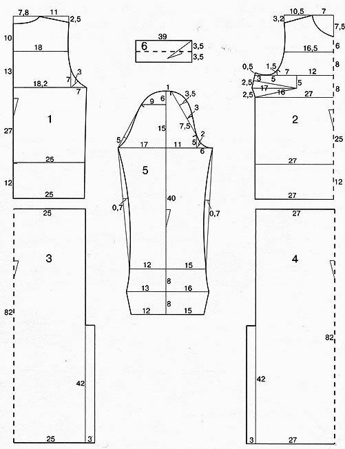 Выкройка трикотажного платья с рукавами А. Корфиати 64
