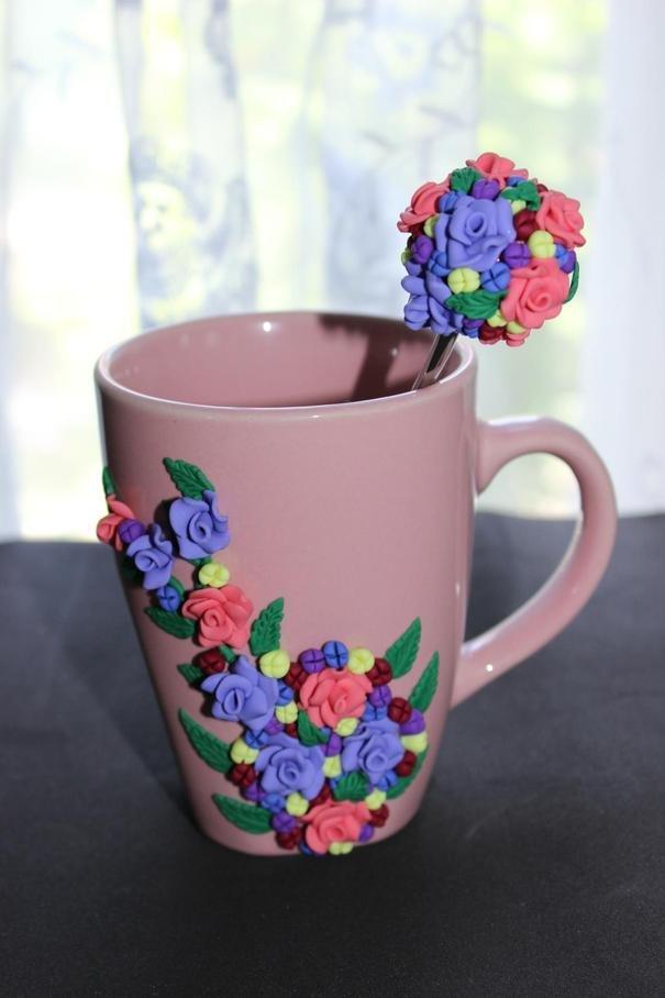 Кружка и ложка с декором из полимерной глины ручная работа.