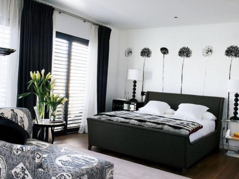 фото черно-белый дизайн спальни