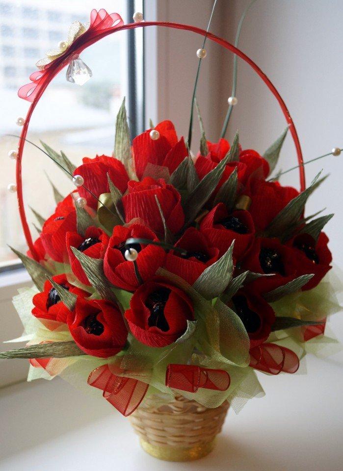 Букет из 10 цветов и конфет своими руками, цветов