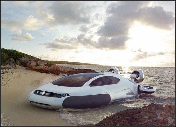 Автомобиль-катер на воздушной подушке: концепт Volkswagen Aqua