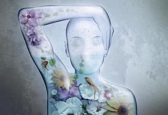 Человек-аквариум, необычная иллюстрация