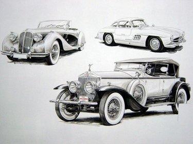 старинный автомобиль рисунок