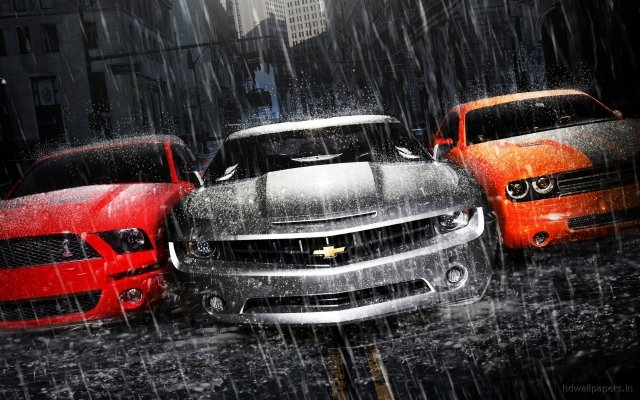 МУСКУЛ КАРЫ MUSCLE CARS обои для рабочего стола. Фото Мускул кары Muscle Cars: Дождь, Асфальт, Chevrolet Camaro, Dodge Challenger, Ford Mustang, Суперкар | WPAPERS.RU (Wallpapers).