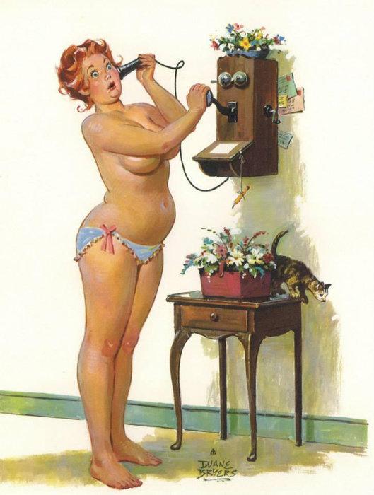 Художник Duane Bryers - Веселая Хильда Откровенно соблазнительная девушка.  Атипичная королева пин-апа: позитивная и рыжеволосая толстушка Хильда  Чувственная, немного неуклюжая, но при этом абсолютно не стесняющаяся своей фигуры – такая она, героиня иллюстраций в стиле пин-ап, созданных Duane Bryers. Хильда, именно так зовут пышную барышню с картинок, - одна из немногих атипичных пин-ап королев, которая украшала страницы американских календарей в середине прошлого века. Итак, знакомьтесь с очаровательной Хильдой.  Источник: http://www.kulturologia.ru/blogs/140316/28768/