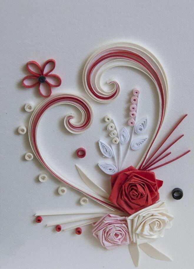 Открытка из бумажных роз