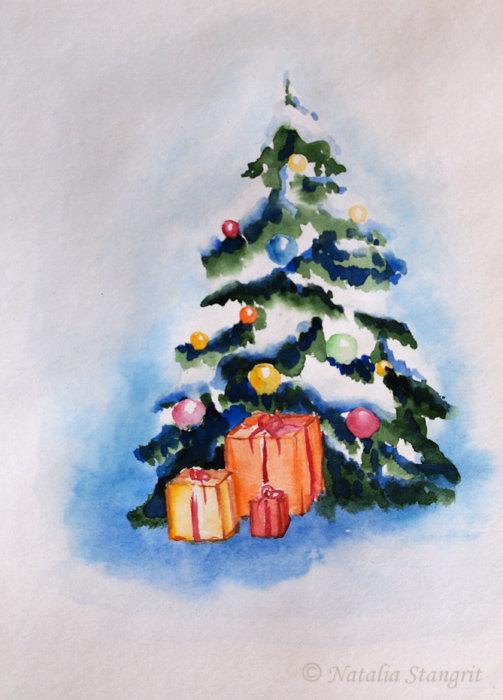 акварель рождество новый год