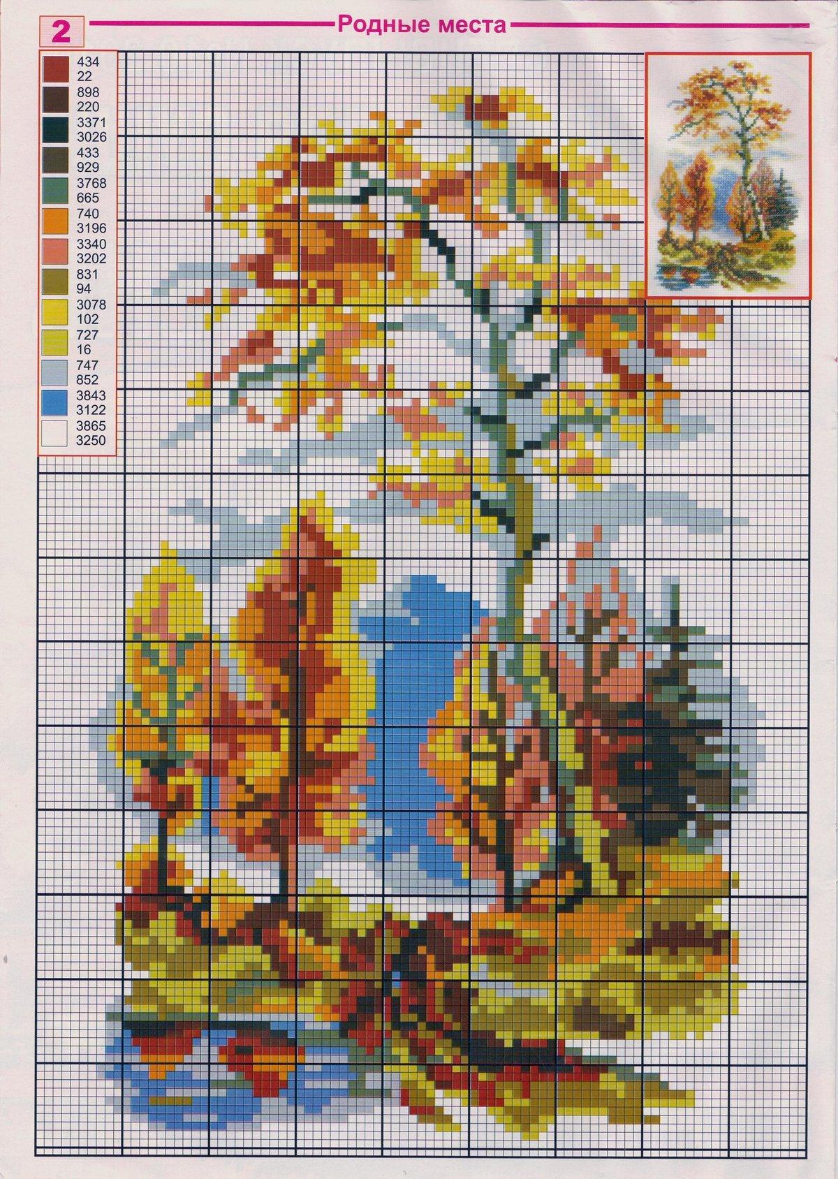 Вышивка крестиком схемы картинки природа, все