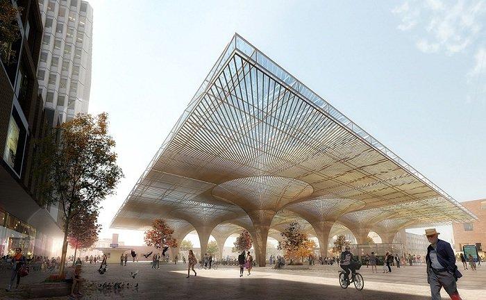 Новая «гостиная» города: футуристический концепт транспортного узла Проект архитектурных бюро COBE и Lunden Architecture.