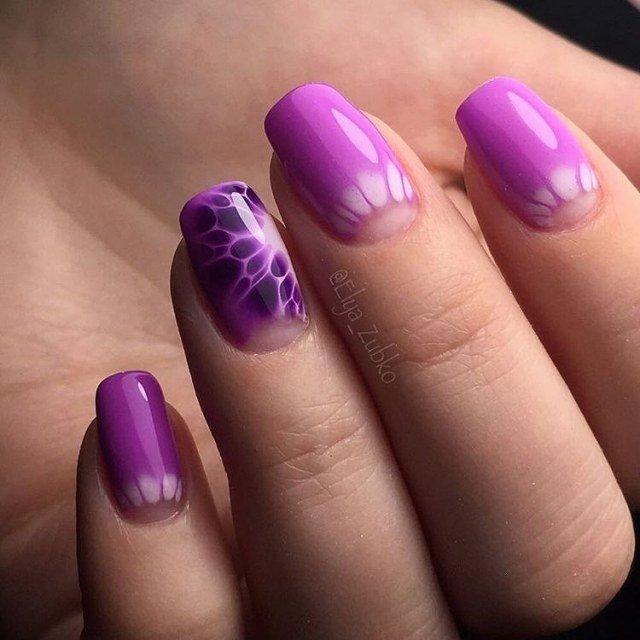 Ногти Фиолетового Цвета С Рисунком Фото