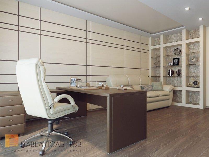 Дизайн домашнего кабинета - В бежевом цвете (коричневый стол)