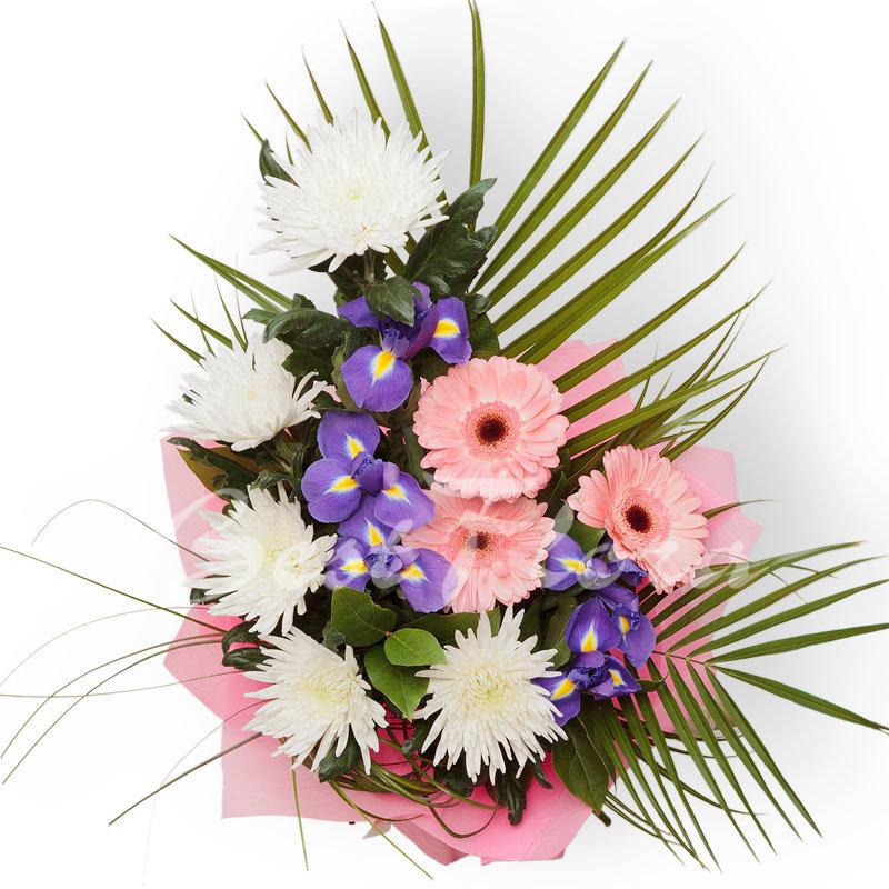 Букет голубых, вертикальный букет из хризантем
