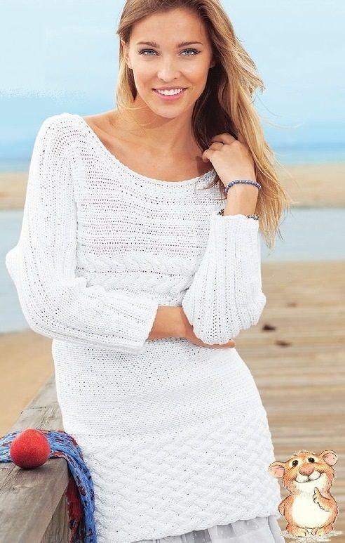 белый пуловер связанный поперек