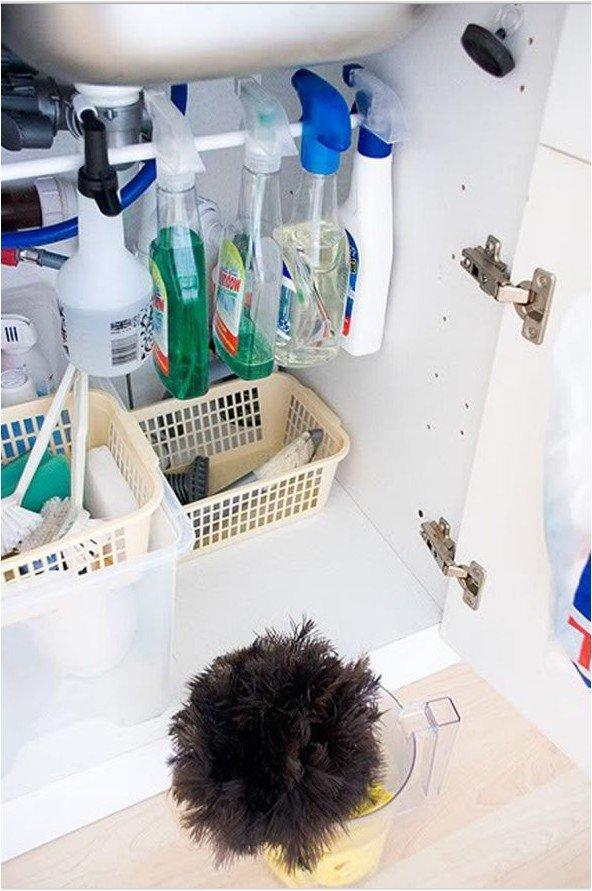 Хранение на кухне под раковиной