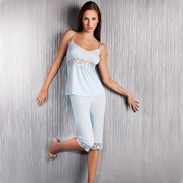 Пижама трикотажная женская Welle белая, кружева, арт. 675- Fabbi.ru