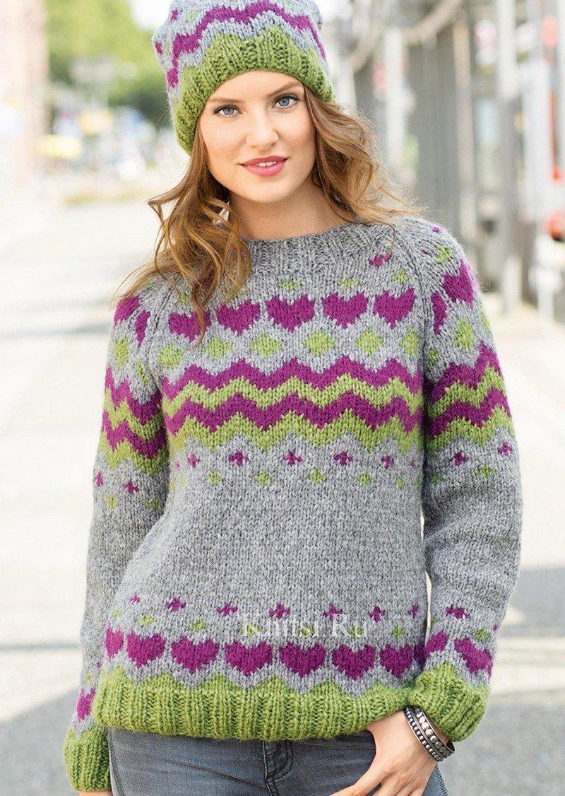 Пуловер реглан и жаккардовая шапка. Вязание для женщин / Пуловеры / Спицами