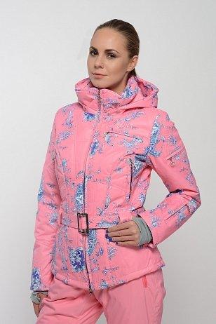 Розовая приталенная горнолыжная куртка куртка